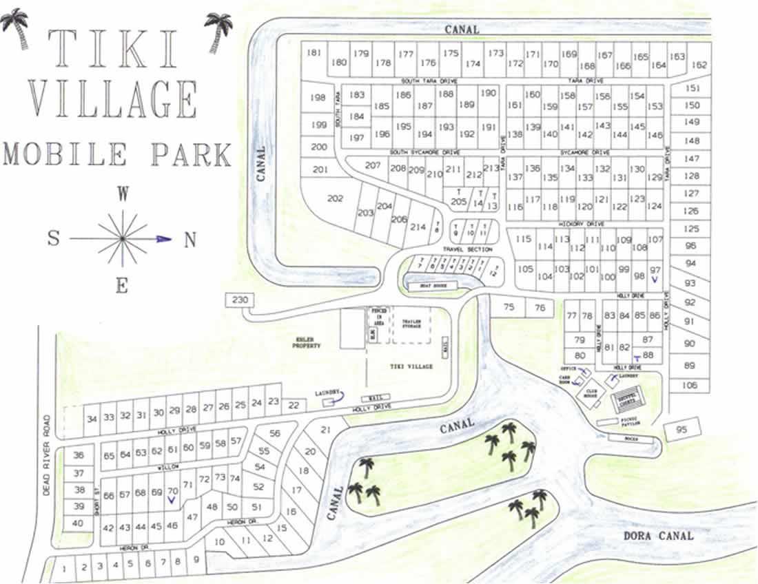 Map Tavares Florida.Tiki Village Mobile Park Tavares Florida